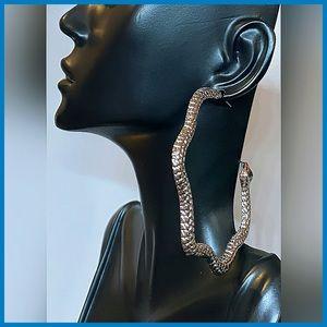 🏷 🆕 Noir Silver Snake   Reptilian Hoop Earrings